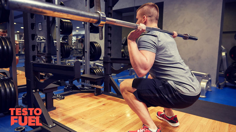 Squats with free weight barbell