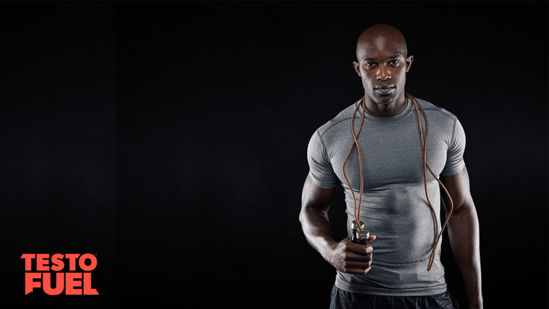 Muscularman with high testosterone with skipping rope