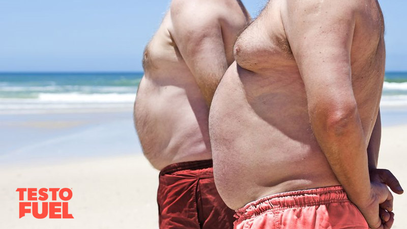 Two overweight men stood on a beach with fat bellies and man boobs