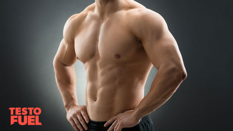 Athlete showing high testosterone, muscles and lean abs