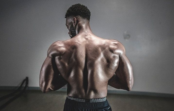 Man with back muscles